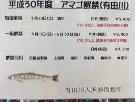 有田川   アマゴ遊漁券(日券、年券) 入荷&販売スタート(^O^)